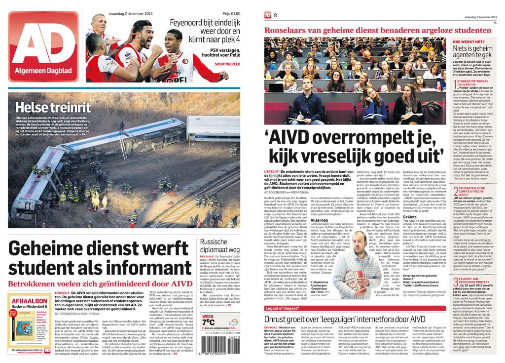 Geheime Dienst Werft Student Als Informant - AD/Algemeen Dagblad - Ivo Roodbergen